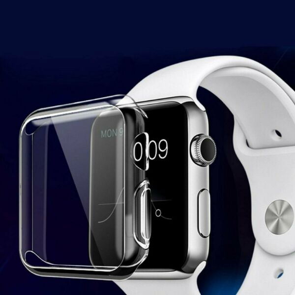 For Apple Watch Silicone TPU Case 360 Clear Cover for iWatch 38/42mm 40/44mm