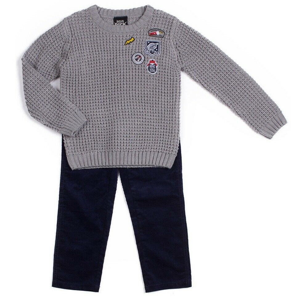 9fd9f47a70 Details about BOYS ROCK sweater pants outfit 4 4T 6 NWT gray knit navy  corduroy winter set