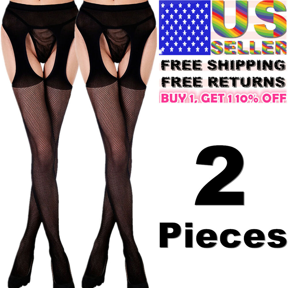 4dcd30c6a7 Details about Women Garter Belt Stay Up Fishnet Thigh High Stocking Sock  Tights Lace Pantyhose