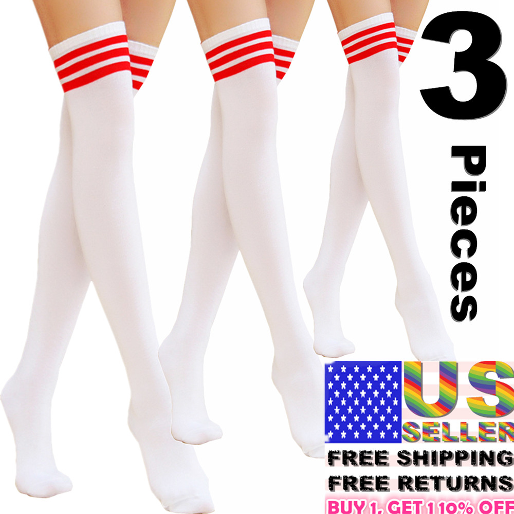 5e3e06b7459 Details about 3 Women Stocking Socks Cotton Nylon Strip Over Knee Long  Sport Tights Thigh High