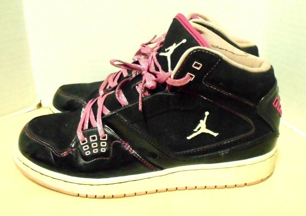 pretty nice 57830 9d5e2 Details about Girl s Nike AIR JORDAN Flight 23 Black Pink Mid Top  Basketball Shoe Size 6.5Y