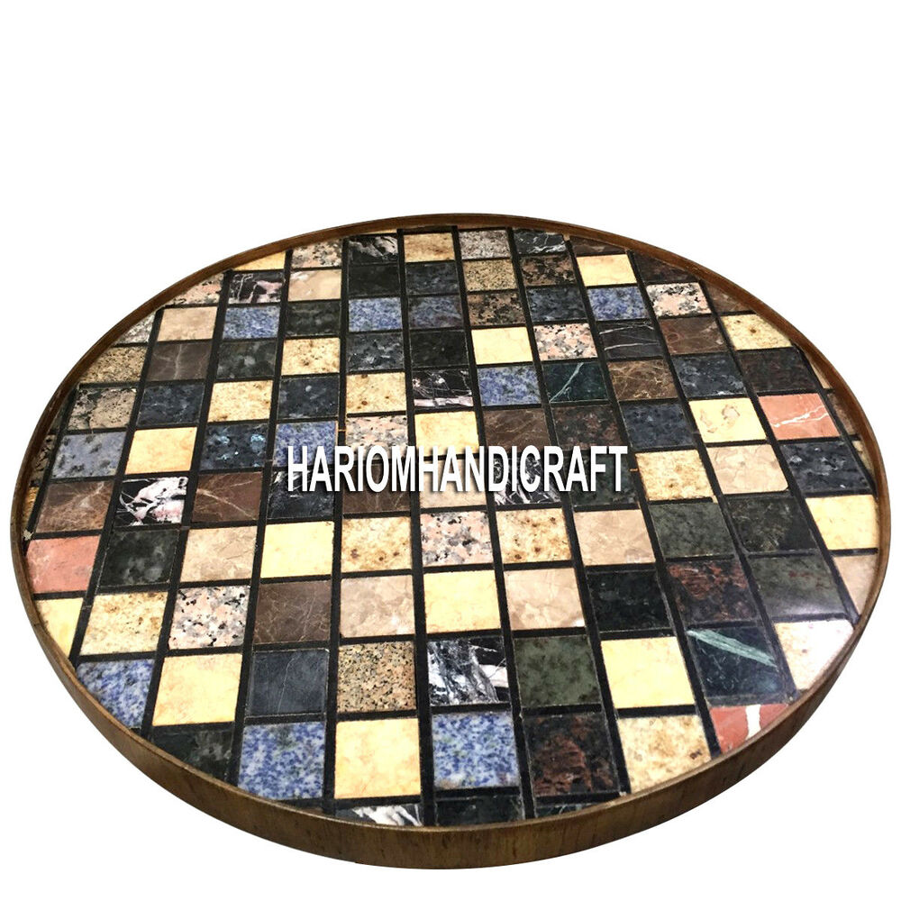 Round Marble Coffee Table Tops Multi Mosaic Stone Inlay