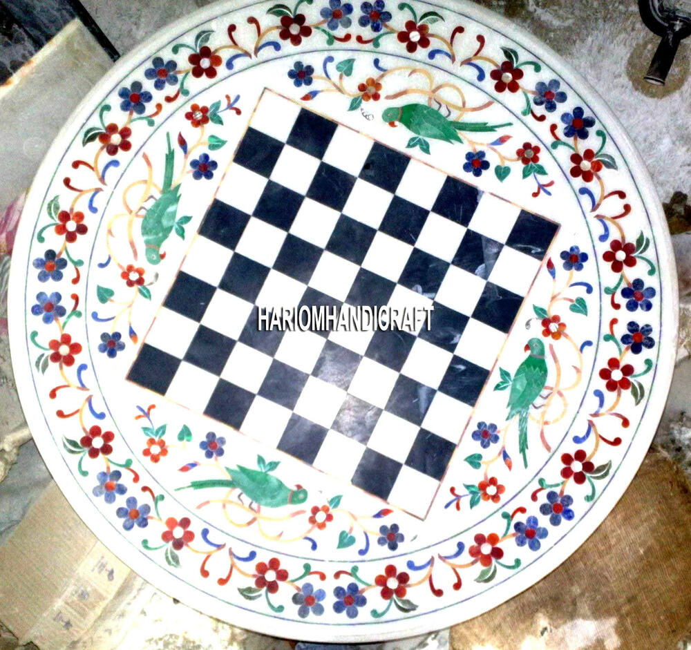Marquetry Marble Coffee Table: Chess Marble Table Inlay Top Coffee Decor Malachite