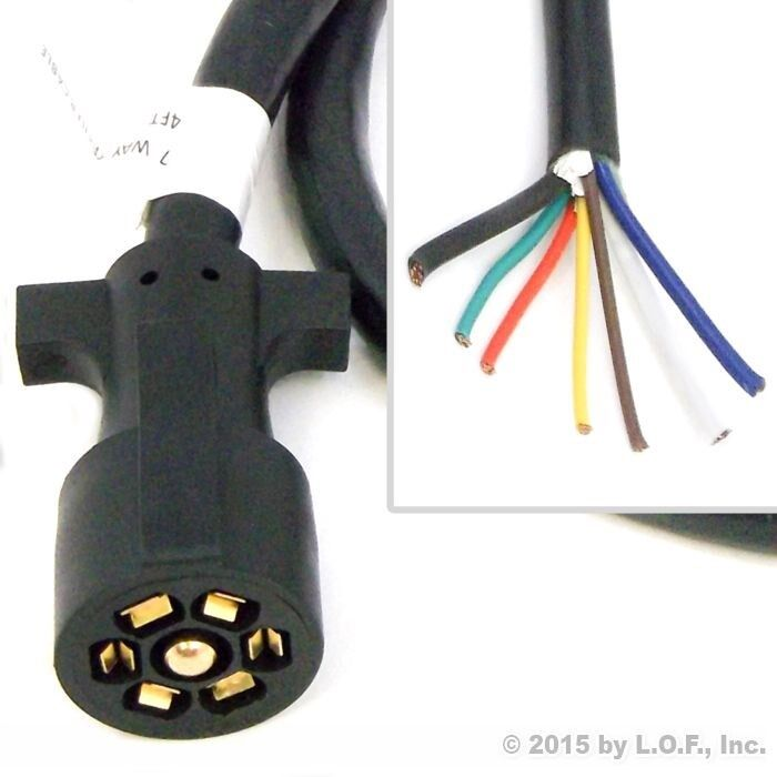 7 wire trailer plug wiring diagram 4ft foot 7 way trailer cable cord wire harness molded ...