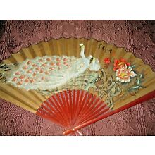Large Vintage Japanese Chinese Wall Fan Hand Painted Peacock Signed