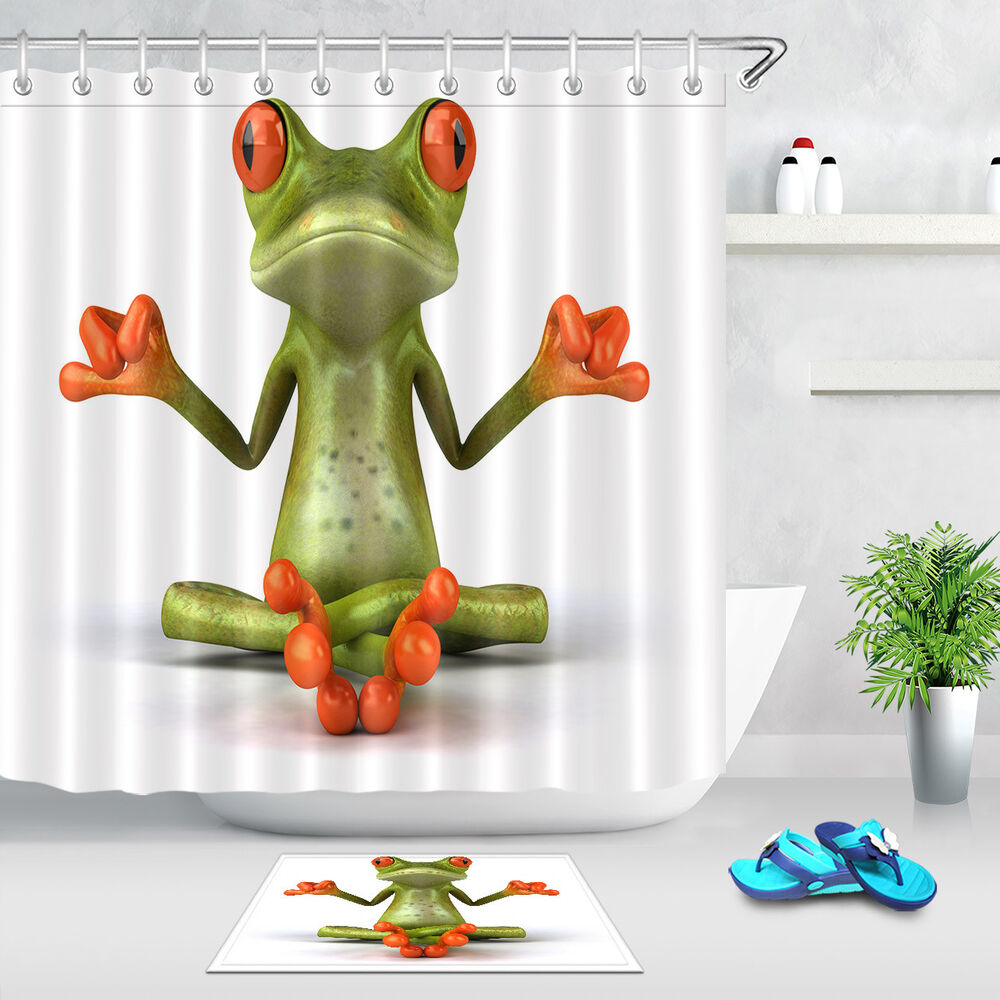 Zen Yoga Frog Animal Shower Curtain Waterproof Fabric Bath