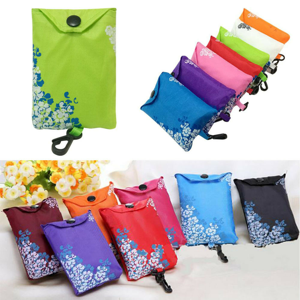 703163bc9 Details about Foldable Reusable Nylon Eco Handbag Storage Travel Shopping  Bag Tote Grocery Bag