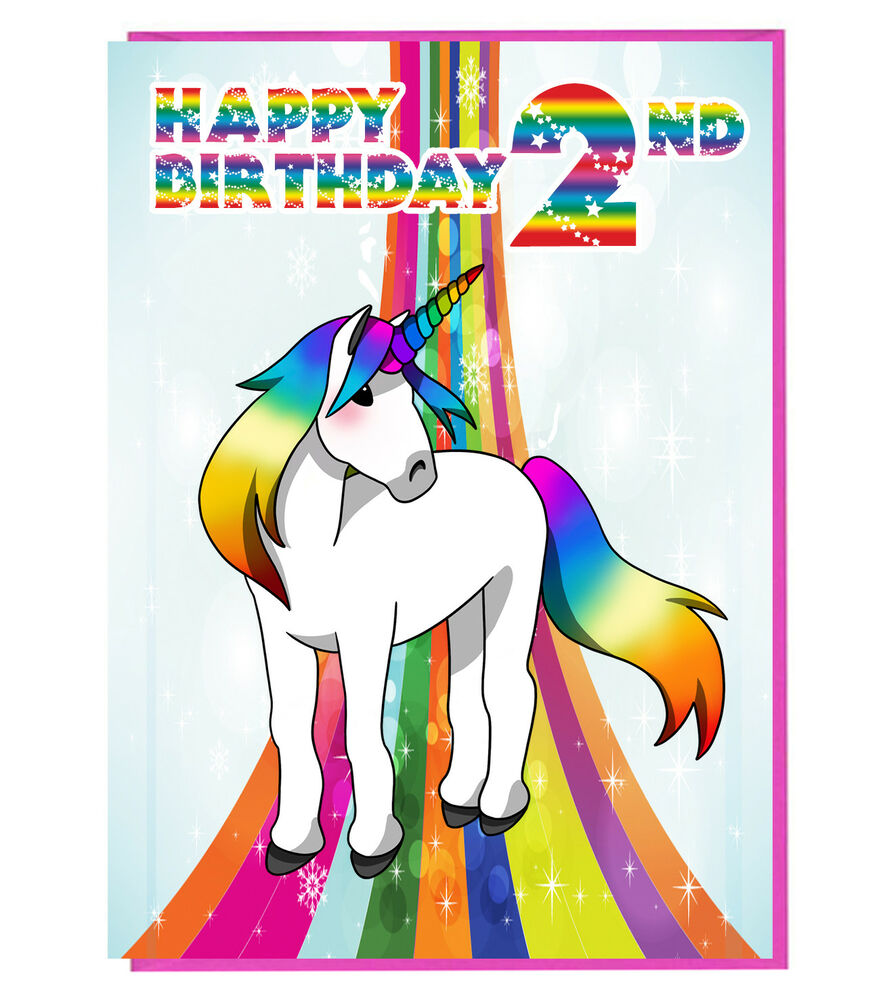 Details About Magical Unicorn 2nd Birthday Card