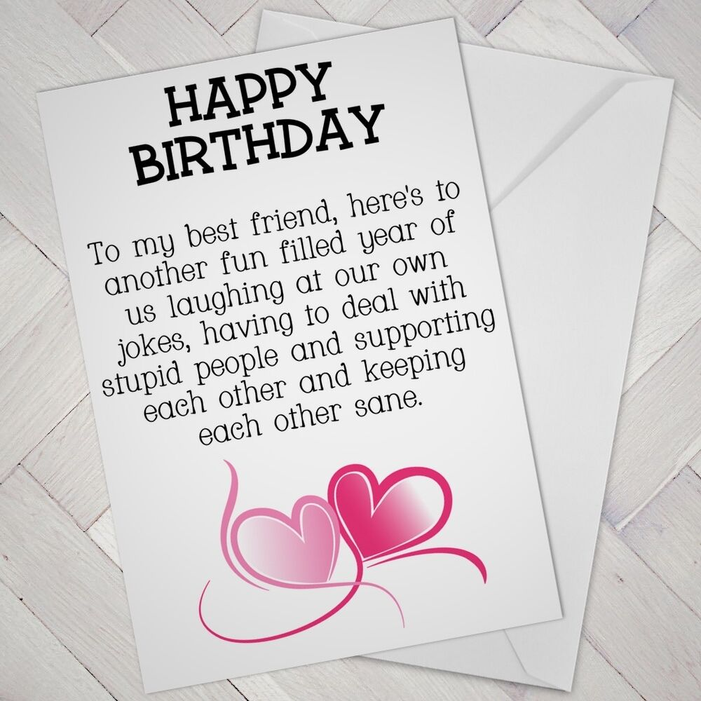 BEST FRIEND Birthday CARD FRIENDS Funny Mate Female Girl Support Mates Freind