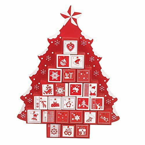 Traditional Wooden Christmas Tree Shaped Advent Calendar Santa Drawers Display Ebay