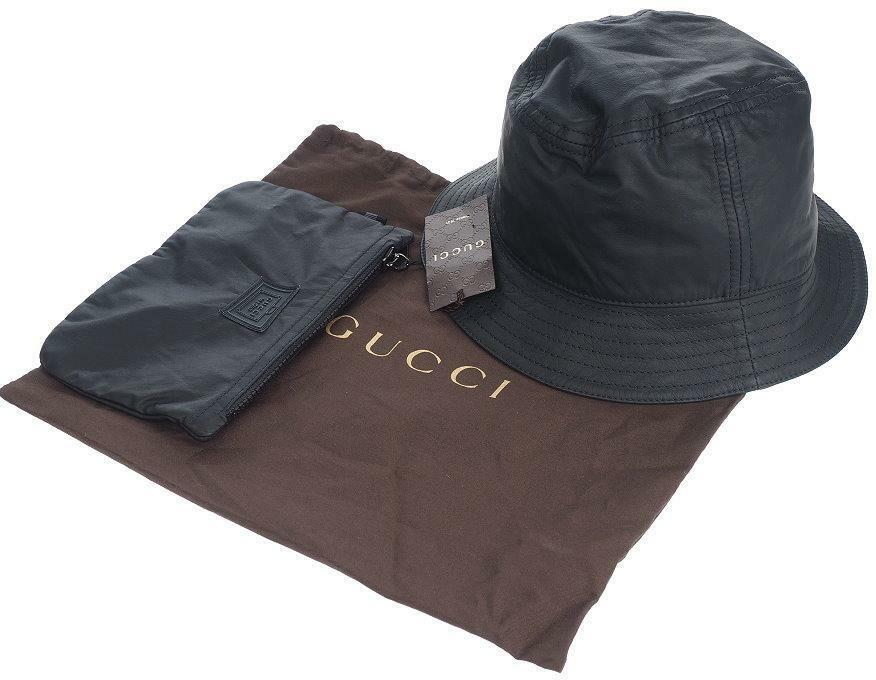 a6bb2b18b6c Details about NEW GUCCI BLACK LAMBSKIN LEATHER BUCKET HAT W ZIP POUCH SMALL  UNISEX