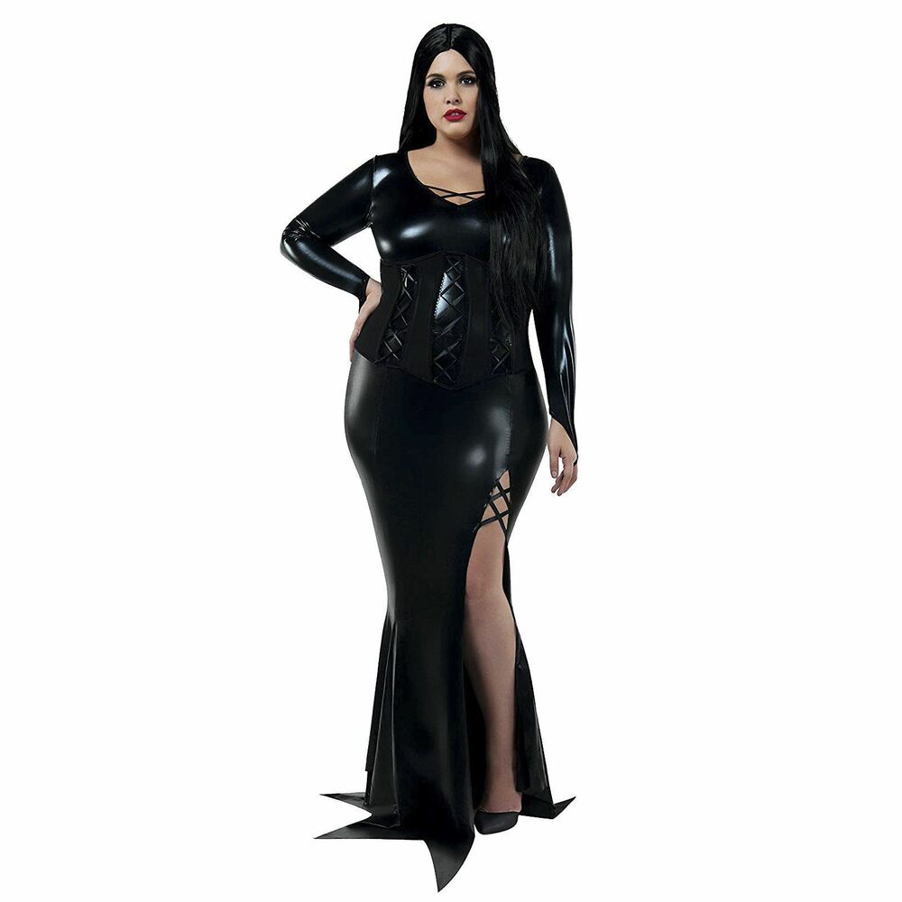 67a350852 Details about Womens Gothic Morticia Addams Halloween Costume Black Dress  Plus Size 1X-5X