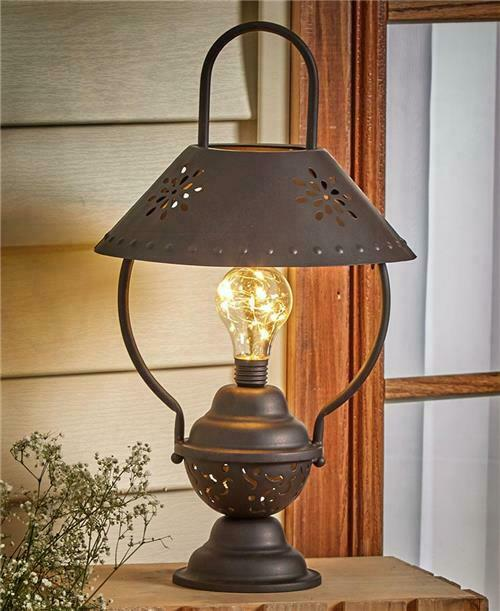 Indoor Lantern Lights: INDOOR OUTDOOR LED RUSTIC TABLE LANTERN LAMP SOLAR OR
