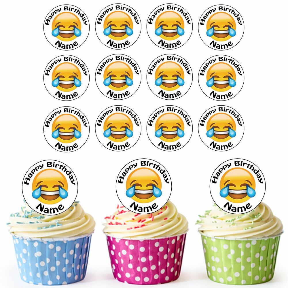Details About 24 Precut Personalised Birthday Emoji LOL Tears Of Joy Edible Cupcake Toppers