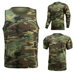 Mens Army Military Outdoor Gym Training Boot Camp Woodland Camo T-SHIRT Tank Tee