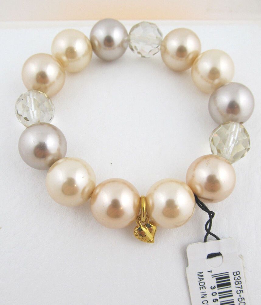 Carolee MAKE ME BLUSH Glass Pearl Faceted Bead Bead Stretch Bracelet NEW  730588483482 | eBay