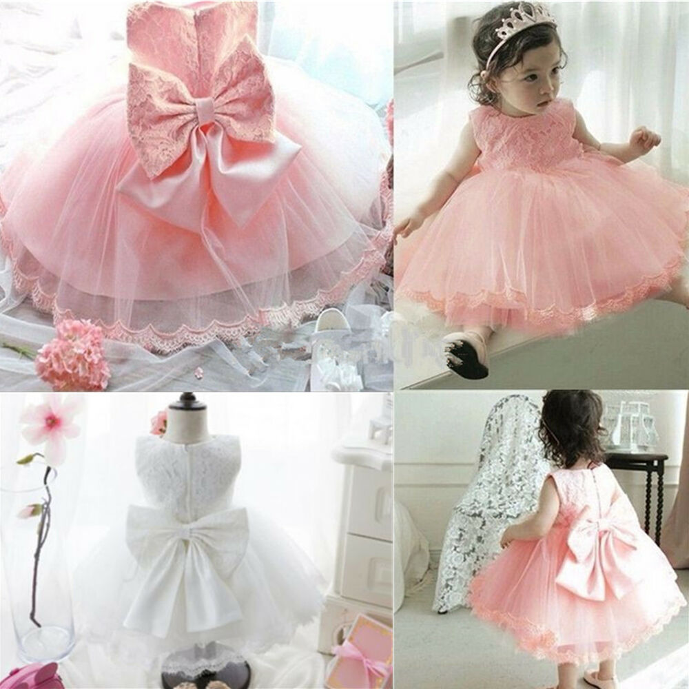 8b0320184ce Details about Newborn Baby Girl Pageant Party Birthday Wedding Princess Lace  Tutu Flower Dress