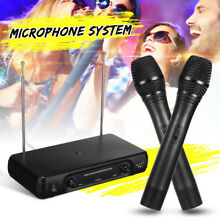 UHF 2Ch Dual Wireless Microphone System Handheld Cordless Mic LCD Professional