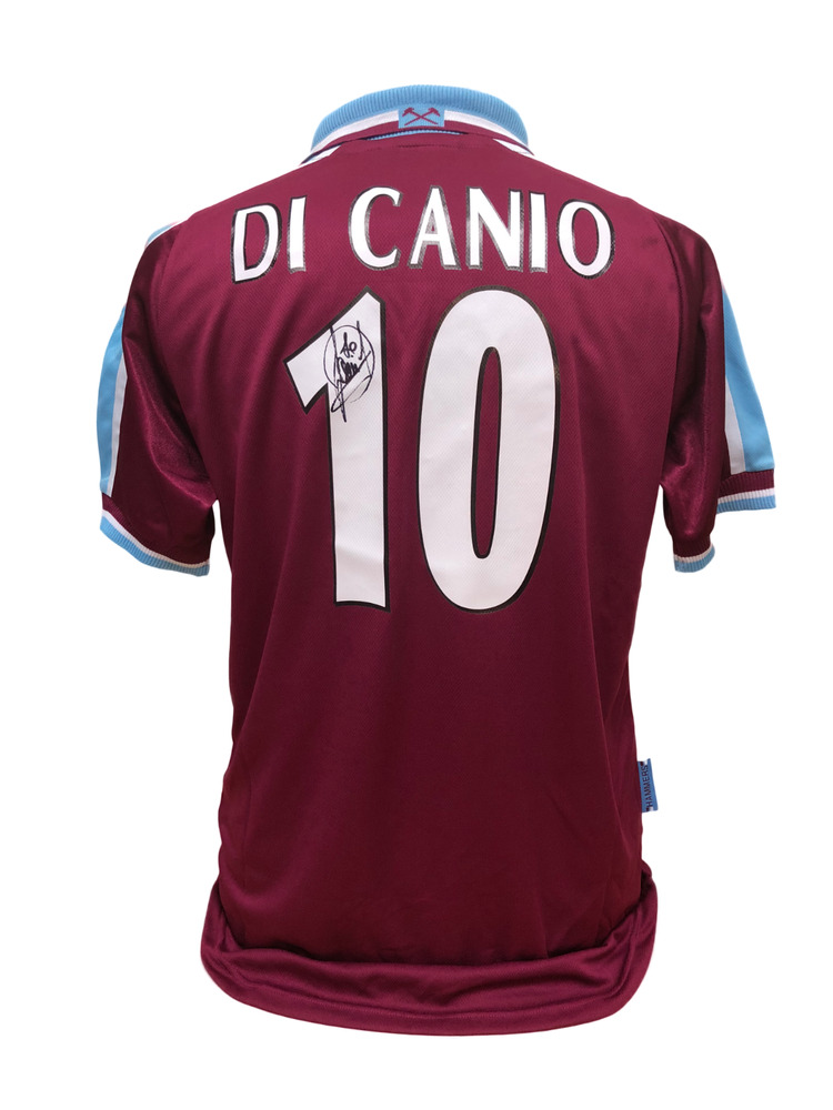 92541329ea8 Details about PAOLO DI CANIO SIGNED WEST HAM UNITED 10 FOOTBALL SHIRT SEE  PROOF COA SOCCER