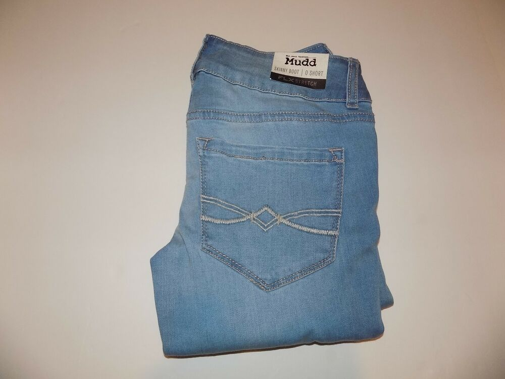 c31eabd593a Details about MUDD DESTROYED FLX STRETCH SKINNY BOOT JEANS JR SZ 0 SHORT NWT
