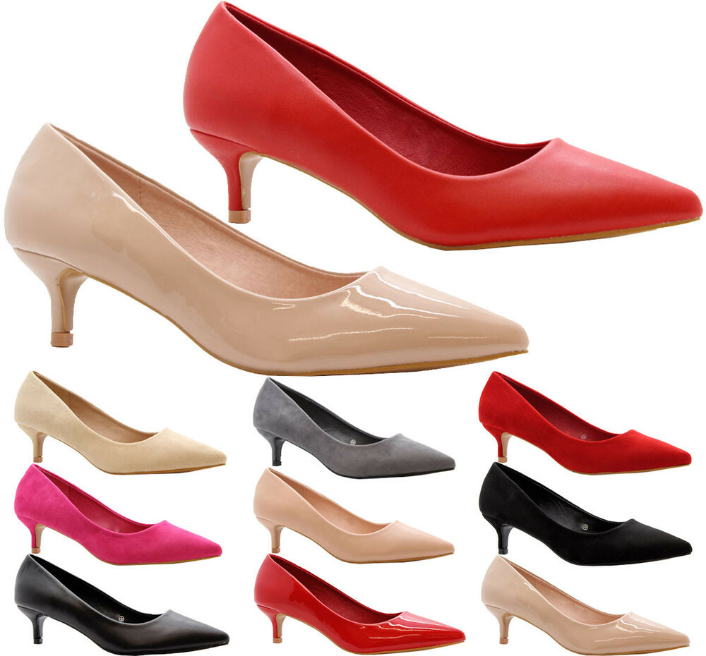 650412be8098 Details about Ladies Women Low Mid Kitten Heel Pumps Work Smart Party Pointed  Court Shoes Size
