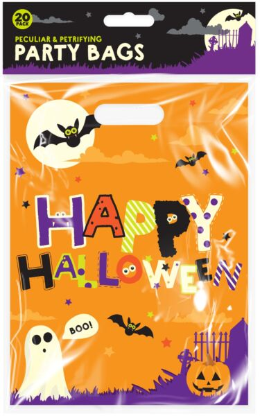 20pc Orange Spooky Halloween Trick Or Treat Party Sweet Candy Loot Bag Favour