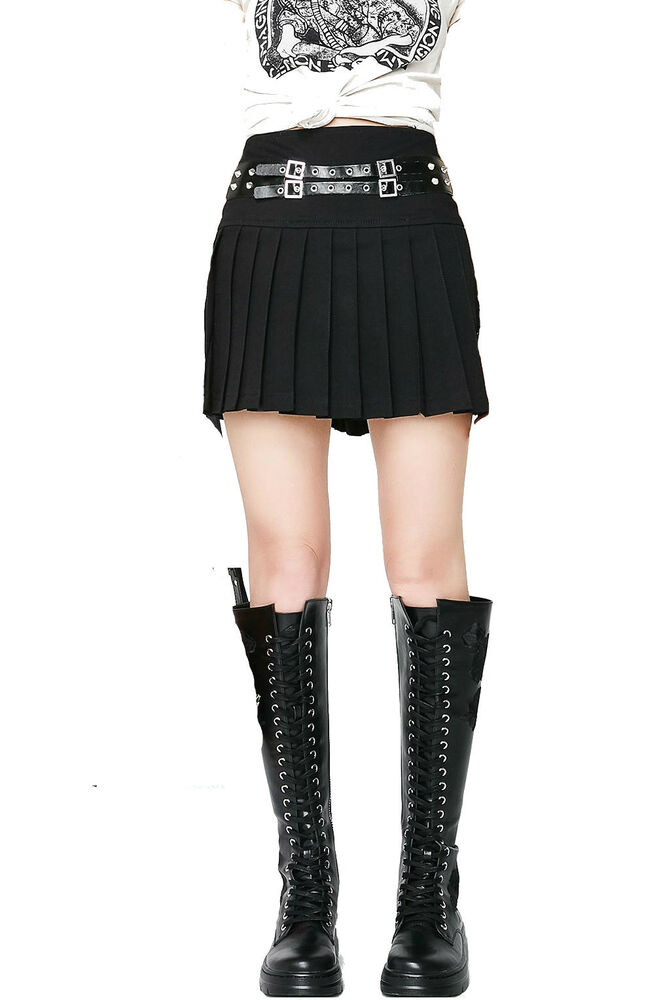 9bddf6a3fc TRIPP GOTHIC PUNK METAL BLACK ROCK STAR BAND PLEATED BELTED MINI SKIRT  IO9669 | eBay