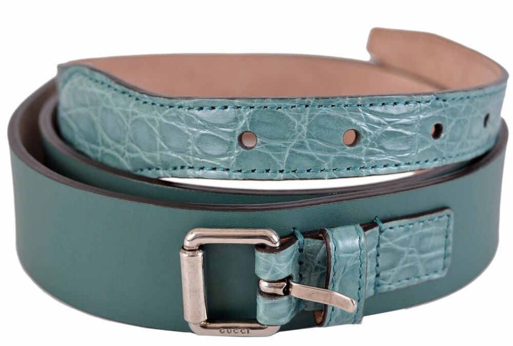 1796f2941ceaff Details about New Gucci Men s Teal Green Alligator and Leather Palladium Buckle  Belt 38 95