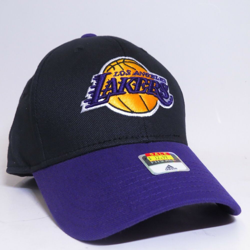 ead24d31f8a Details about ADIDAS LOS ANGELES LAKERS NBA ONE SIZE FITS ALL CAP HAT -  BLACK PURPLE