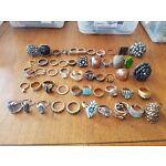 Huge Lot of 50 Rings Vtg Cocktail Designer Rhinestone Silver Gold Tone Mixed #4