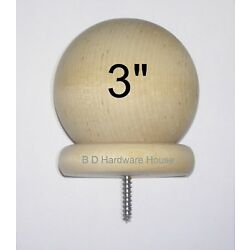 3'' - Round Wood Ball Finial for Wood Newel Post Railing Cap, Curtain Rod End