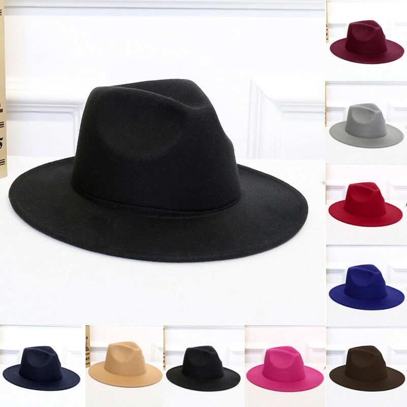 0b15343b2c9 Details about Vintage Men Women Wide Brim Wool felt Hat Floppy Felt Bowler  Fedora Cloche Cap