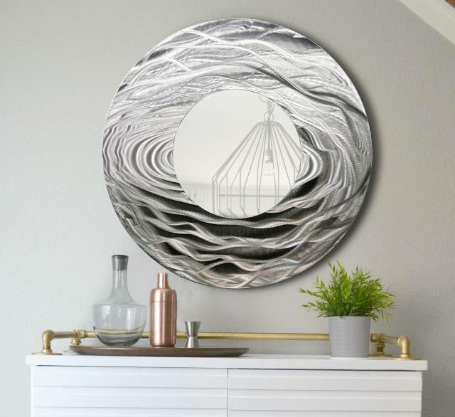 Silver Metal Wall Art Large Round Mirror Home Decor Metallic Accent ...