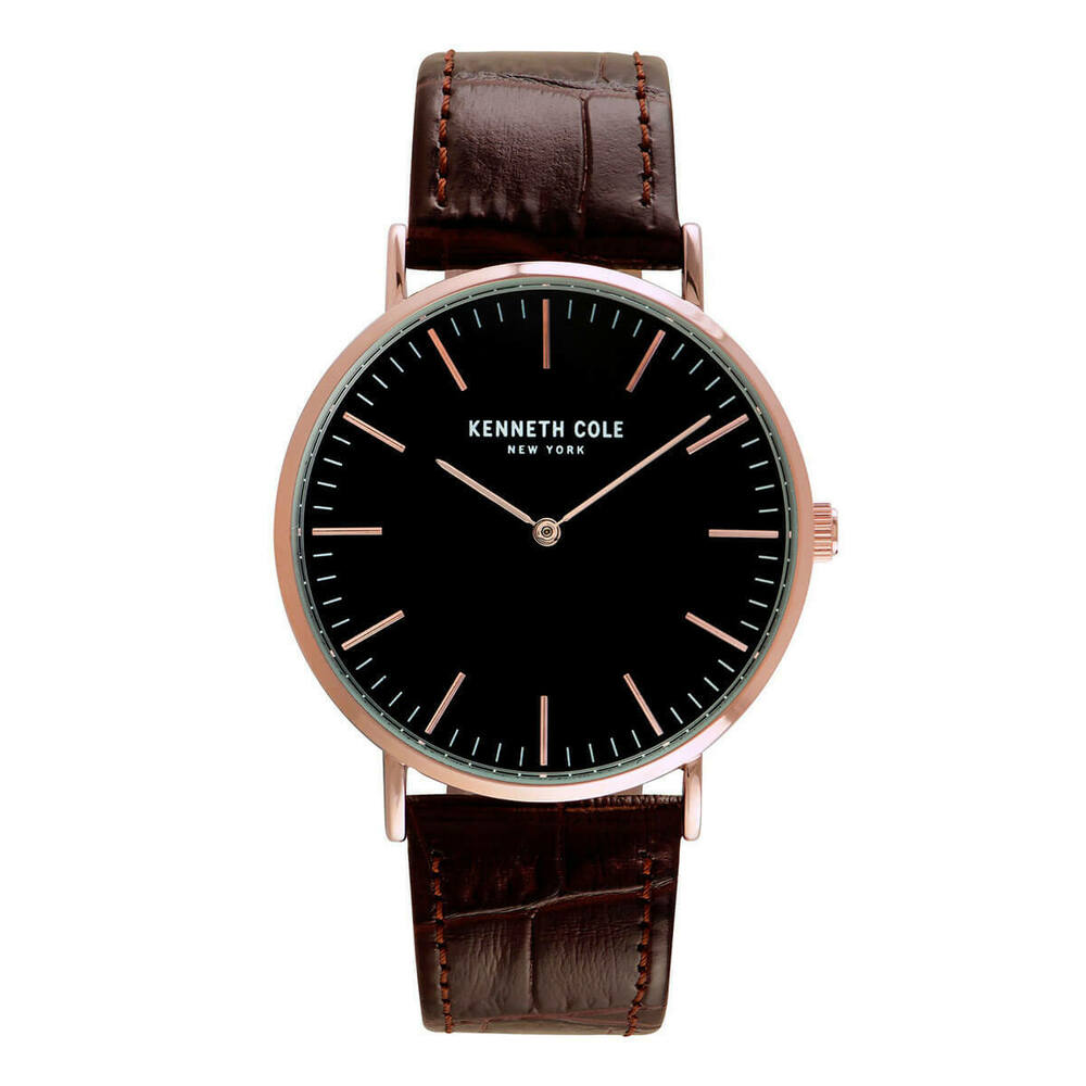 99005926507 Details about Kenneth Cole KC50507003 Men s Classic Leather Band Black Dial  Watch