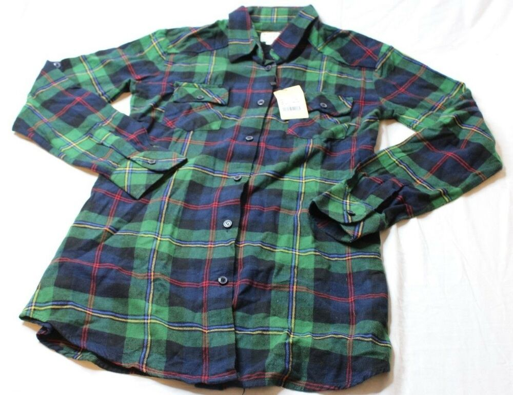 f6c3459a16 Details about Matchstick Argus Women's Long Sleeve Plaid Shirt Green Black  Red Size Small New