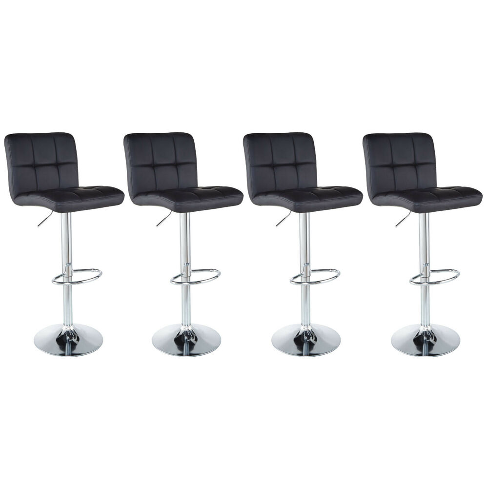 Set Of 4 Counter Height Pu Leather Bar Stools Adjustable
