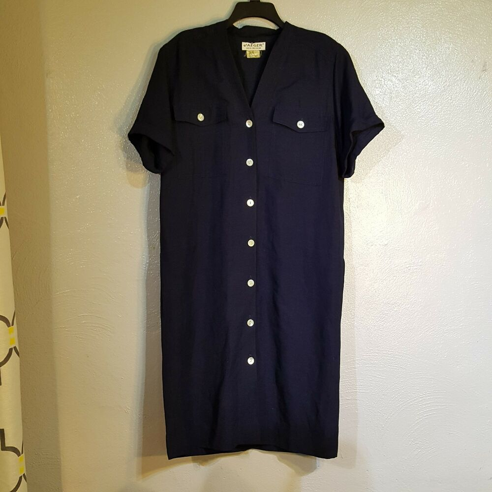 e466612a806 Details about Jaeger Linen Flax Button Front Shirt Dress Blue Size US 10 UK  12 Pockets