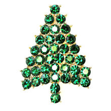 Christmas Tree Pin Brooch Gorgeous Emerald Color Green Crystal
