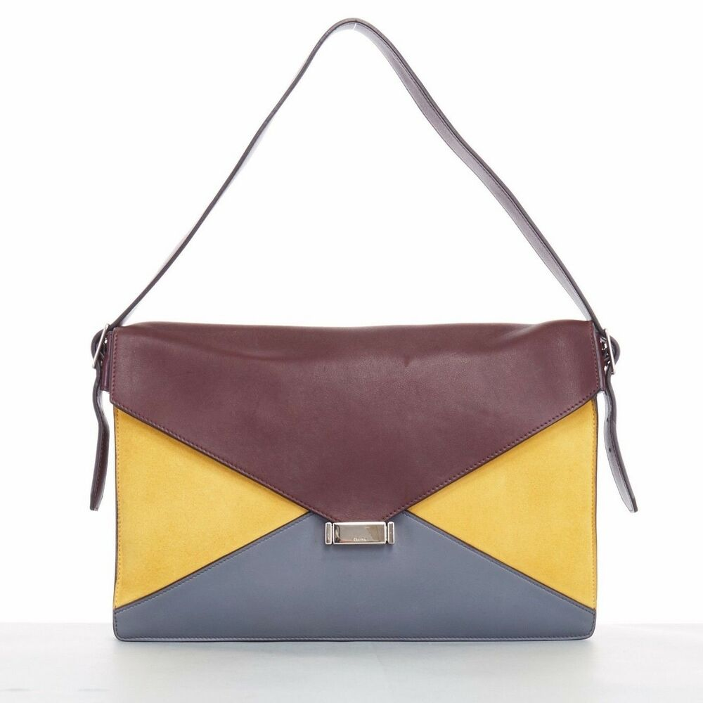 Details about CELINE PHOEBE PHILO Diamond burgundy yellow leather shoulder  clutch bag 07caaa07f9761