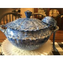 Handmade blue soup Tureen With Lid And Ladle