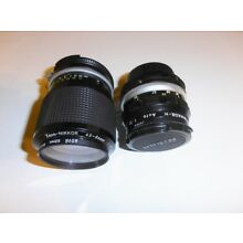 Nikon camera lenses (2) Nikkor H Auto f28mm 1:3.5 and Zoom 43-86mm 857768 Japan