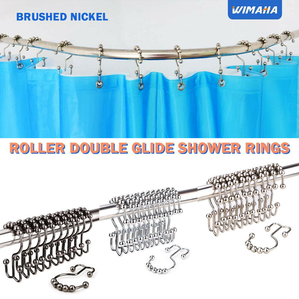 Wimaha Rustproof Shower Curtain Rings Roller For Bathroom Stainless Steel