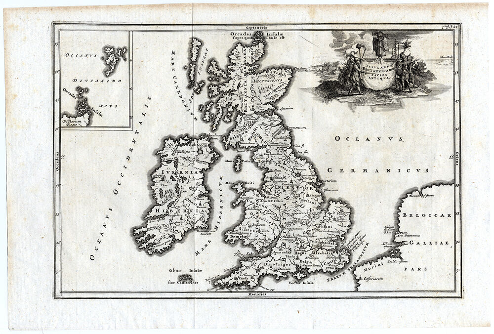 Antique Map Ancient British Isles Great Britain England Ireland