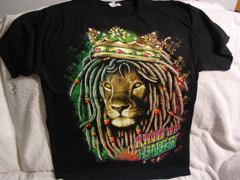 3f6ccd490c28a Details about LION OF JUDDAH DREADLOCKS KING OF KINGS CROWN RASTAFARIAN  T-SHIRT