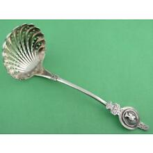 Early Coin Silver pierced Serving Ladle / Sifter MEDALLION pattern c1800s
