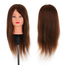 100% Real Human Hair Mannequin Head Hairdressing Training Head With Stand Y6F3
