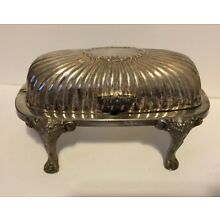 Vintage F.B. Rogers Silver Co. Silverplate Roll Top Lion Footed Butter Dish 357