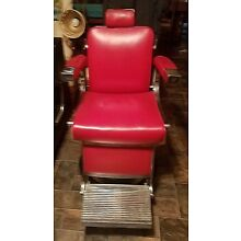 Vintage Belmont Barber Chair Chrome & Red w/ Booster & Trays 1950's Complete