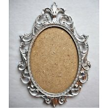 Vintage Victorian Style Italian Ornate Silver Metal Oval Photo Picture Art Frame