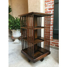 Antique English Oak Revolving Rolling Bookcase Bookshelf Library Arts & Crafts